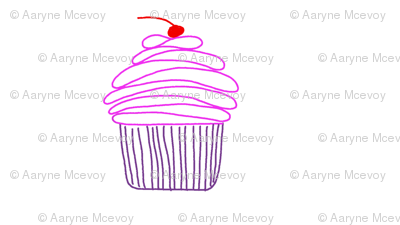 Cupcake - pink and purple with a cherry on top!