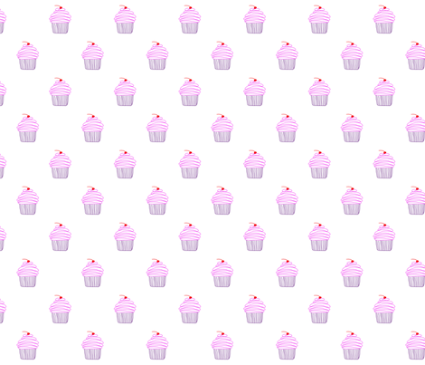 Cupcake - pink and purple with a cherry on top! fabric by the_awkward_bird on Spoonflower - custom fabric