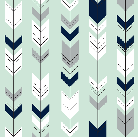 Fletching arrows (small scale) // Northern Lights - Mint fabric by littlearrowdesign on Spoonflower - custom fabric
