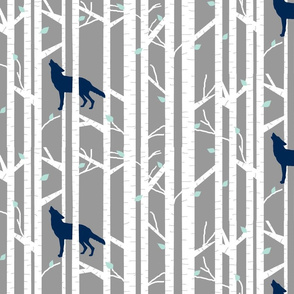 Into the woods - wolf/coyote // indigo, grey and mint