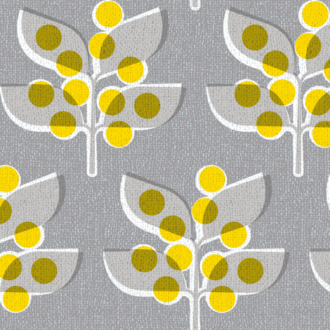 Autumn Berries (on grey) fabric by cerigwen on Spoonflower - custom fabric