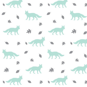 Autumn Fox // mint and grey