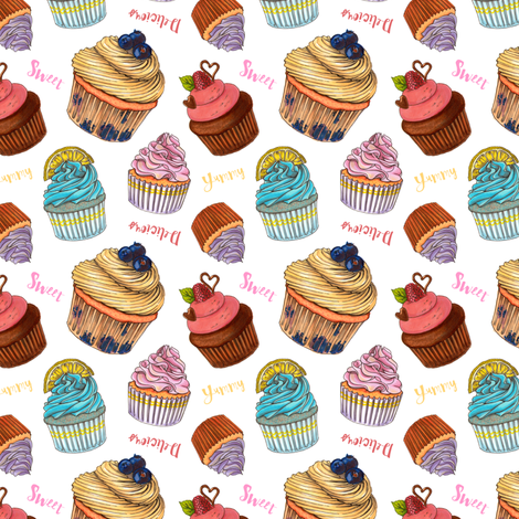 sweet cupcakes fabric by alenaganzhela on Spoonflower - custom fabric