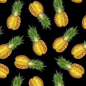 pineapples black background