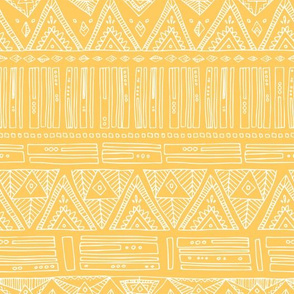Intricate Geometric - White on Yellow Golden - Triangles Abstract Shapes