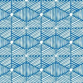 Blue and White Tribal Box Stripes