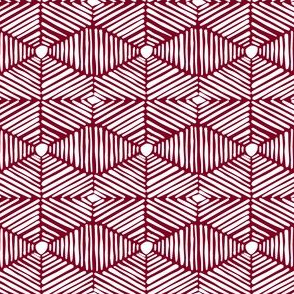 Dark Red Garnet Maroon and White Tribal Box Stripes