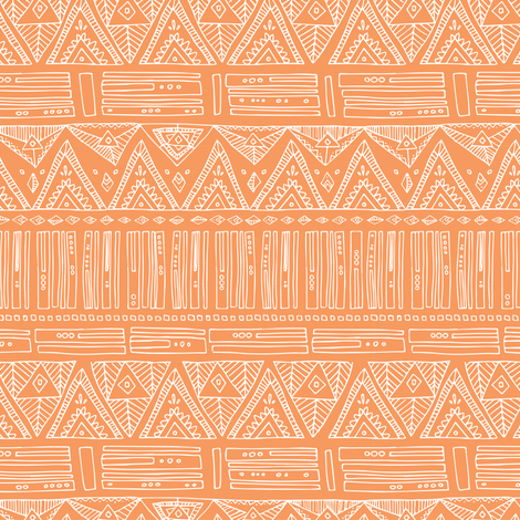 Intricate Geometric - White on Peach- Triangles Abstract Shapes fabric by tonia_dee on Spoonflower - custom fabric