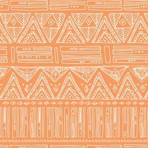 Intricate Geometric - White on Peach- Triangles Abstract Shapes