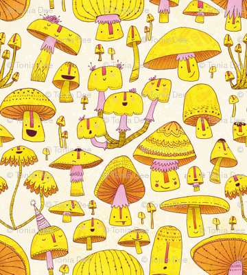 Fun Fungi -Funny Quirky Nature Mushroom Party - Pink Yellow Orange Cream - Large