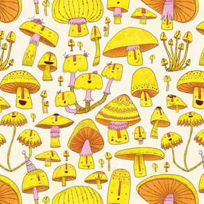 Fun Fungi -Funny Quirky Nature Mushroom Party - Pink Yellow Orange Cream - Large