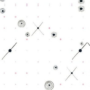 small black icons with pink dots