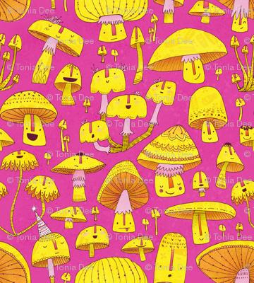 Fun Fungi -Funny Quirky Nature Mushroom Party - Pink Yellow Orange