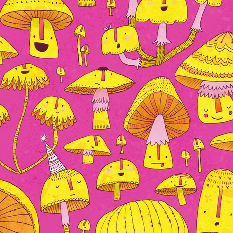 Fun Fungi -Funny Quirky Nature Mushroom Party - Pink Yellow Orange fabric by tonia_dee on Spoonflower - custom fabric