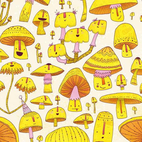 Fun Fungi -Funny Quirky Nature Mushroom Party - Pink Yellow Orange Cream fabric by tonia_dee on Spoonflower - custom fabric