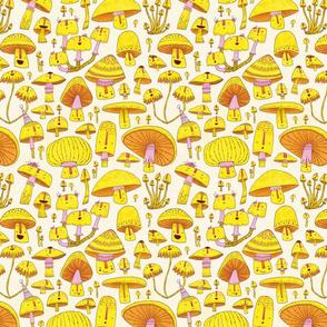 Fun Fungi -Funny Quirky Nature Mushroom Party - Pink Yellow Orange Cream
