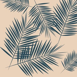 Palm leaf - navy on nude Palm leaves Palm tree tropical