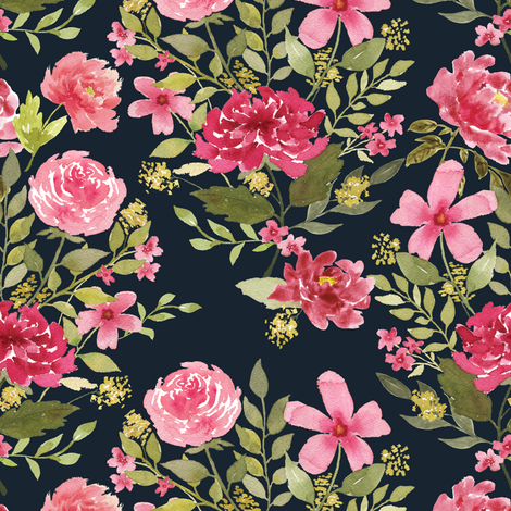 Wildflower bunch on navy fabric by mintpeony on Spoonflower - custom fabric