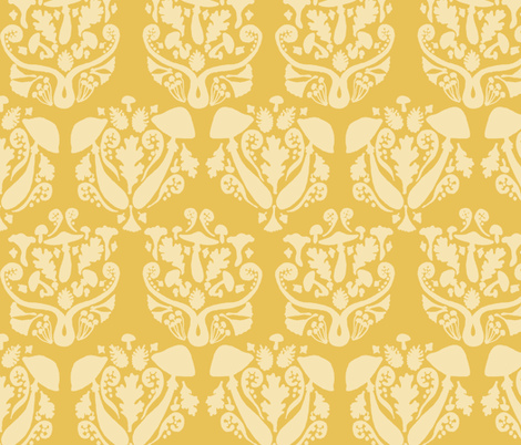 Autumn Damask // Yellow fabric by tanksley on Spoonflower - custom fabric