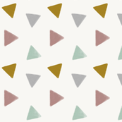 Watercolor triangles - pastel mint mauve mustard grey