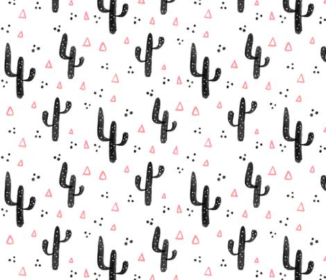 Pink and black cactus - Big pattern fabric by howjoyful on Spoonflower - custom fabric