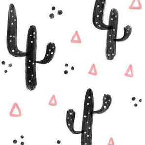 Pink and black cactus - Big pattern