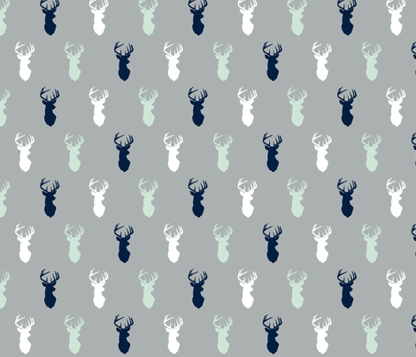 multi buck head on grey || the northern lights collection fabric by littlearrowdesign on Spoonflower - custom fabric