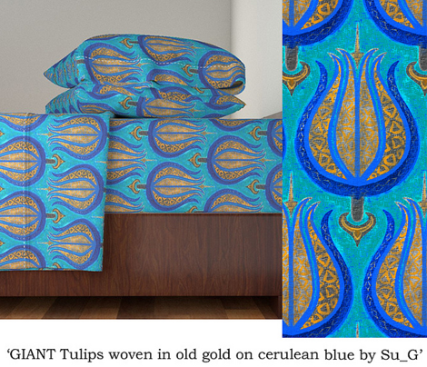 GIANT Tulips woven in old gold on cerulean blue by Su_G_©SuSchaefer