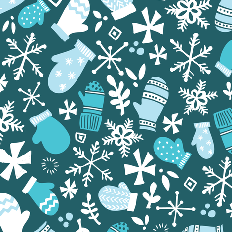 Mitten Montage Large - Deep Blue Frost + White- winter holiday Christmas Snowflakes - boy christmas fabric by tonia_dee on Spoonflower - custom fabric