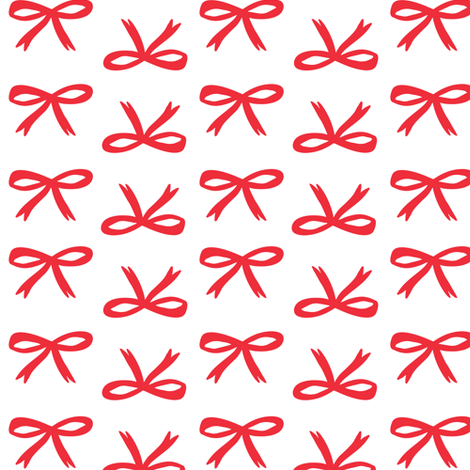 Christmas Bows - White Snow + Red fabric by tonia_dee on Spoonflower - custom fabric