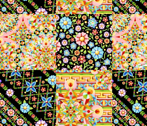 Crazy Crazy Patchwork Quilt 2 fabric by patriciasheadesigns on Spoonflower - custom fabric