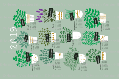 Herbs tea towel calendar 2019 (light)