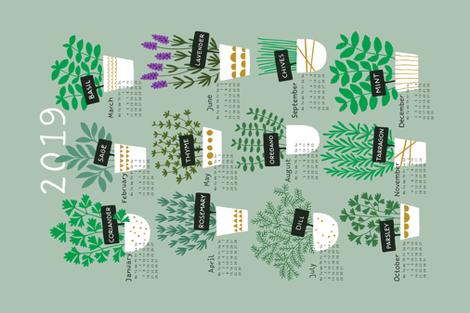Herbs tea towel calendar 2019 (light) fabric by heleen_vd_thillart on Spoonflower - custom fabric
