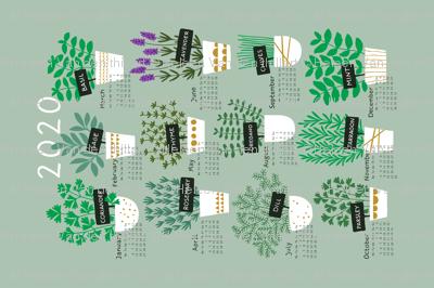 Herbs tea towel calendar 2020 (light)