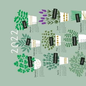 Herbs tea towel calendar 2022 (light)