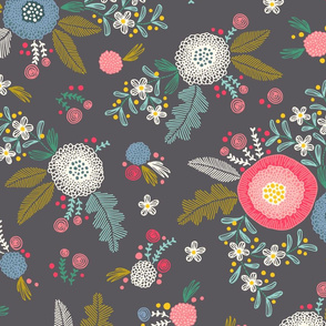 Embroidered flower pattern on gray (large)