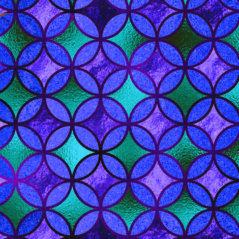 QUATREFOIL METALLIC GLOW BLUE EMERALD PURPLE TURQUOISE CELADON  MEDIEVAL JAPANESE SYMBOL fabric by paysmage on Spoonflower - custom fabric