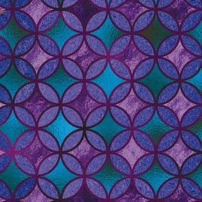 QUATREFOIL METALLIC GLOW BLUE EMERALD PURPLE TURQUOISE CELADON  MEDIEVAL JAPANESE SYMBOL