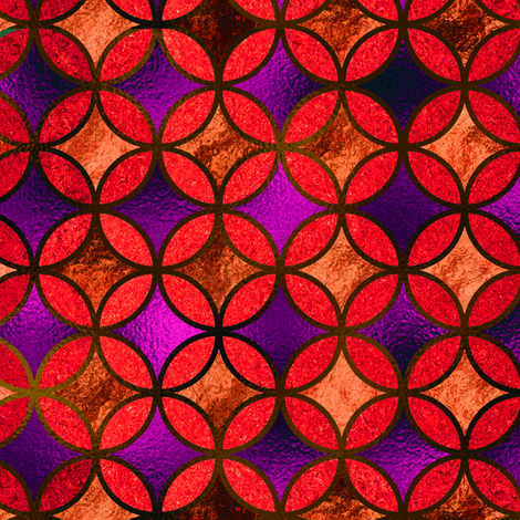 QUATREFOIL GOLD COOPER ORANGE FUCHSIA PURPLE BROWN   MEDIEVAL JAPANESE SYMBOL fabric by paysmage on Spoonflower - custom fabric
