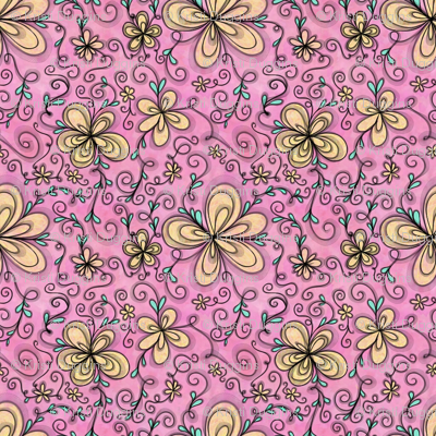 Project 096 | Cream Flowers on Cotton Candy Pink