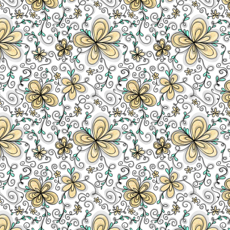 Project 096 | Cream Flowers on Cotton Candy Pink fabric by bohobear on Spoonflower - custom fabric