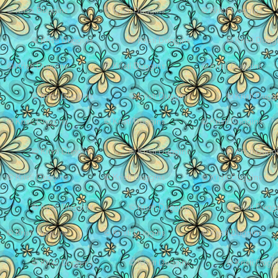Project 096 | Cream Flowers on Cotton Candy Blue