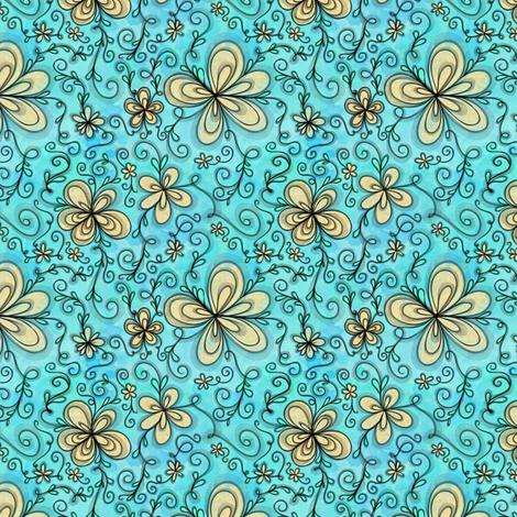 Project 096 | Cream Flowers on Cotton Candy Blue fabric by bohobear on Spoonflower - custom fabric