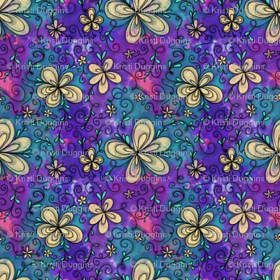 Project 096   Cream Flowers on Purple