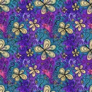 Project 096 | Cream Flowers on Purple