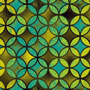QUATREFOIL METALLIC GLOW  MODERN  TURQUOISE GREEN LIME CHARTREUSE BROWN  MEDIEVAL JAPANESE SYMBOL