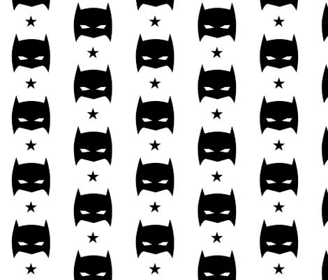 Superhero Batmask Star Black and White Monochrome fabric by bub&cub on Spoonflower - custom fabric