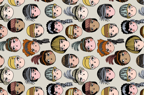 flapperfaces fabric by joslynndowd on Spoonflower - custom fabric