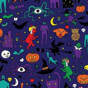 Retro Halloween - Midnight blue