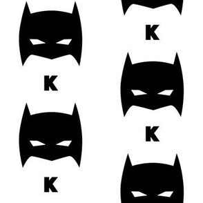 Superhero Bat Mask K Initial Black and White